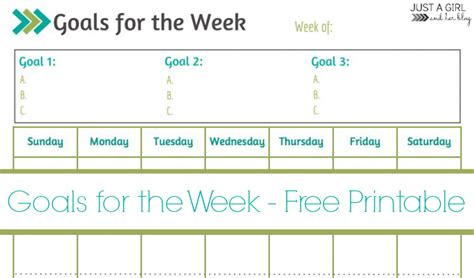 weekly goals printable free printable mom 4 real
