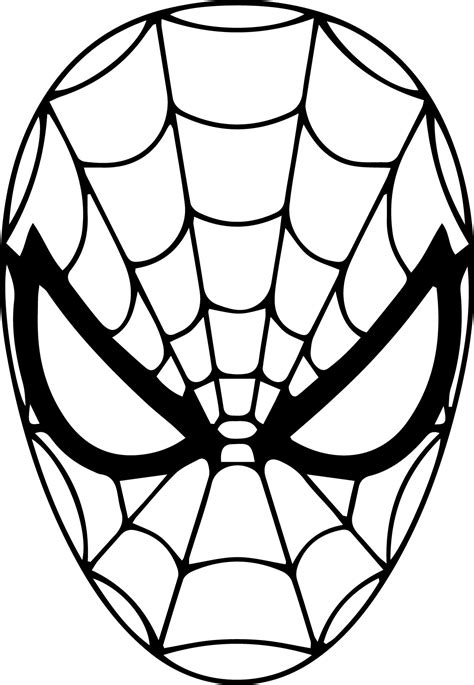 spiderman head coloring page spiderman mask clipart 36