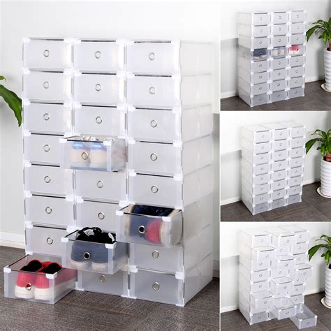 foldable clear plastic shoe box drawer stackable home