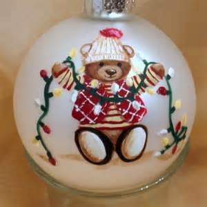 personalized christmas ornament with handpainted teddy bear teddiart seasonal on artfire