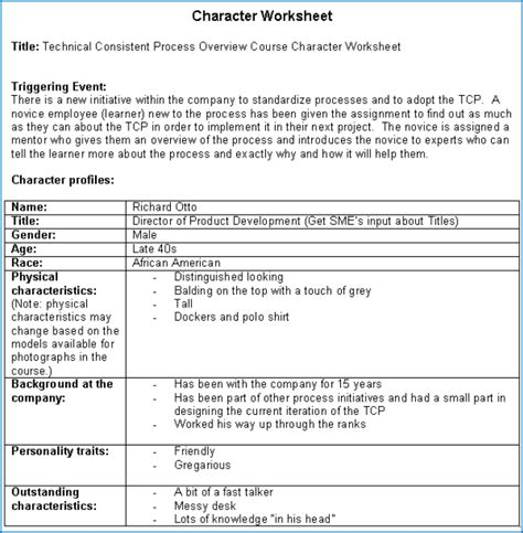 Character Building Worksheets For Writers by Character Building Worksheet Search Literacy