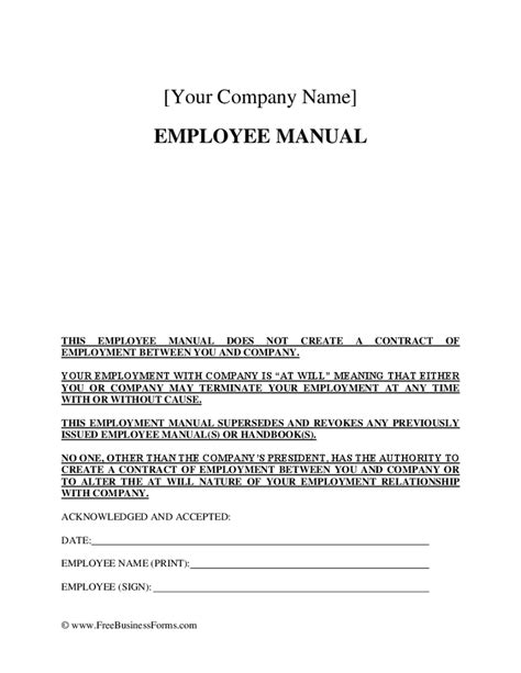 policy acknowledgement form template employee policies employee handbook hashdoc
