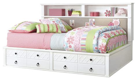 white twin bed with storage ashley iseydona twin bookcase bed with storage footboard