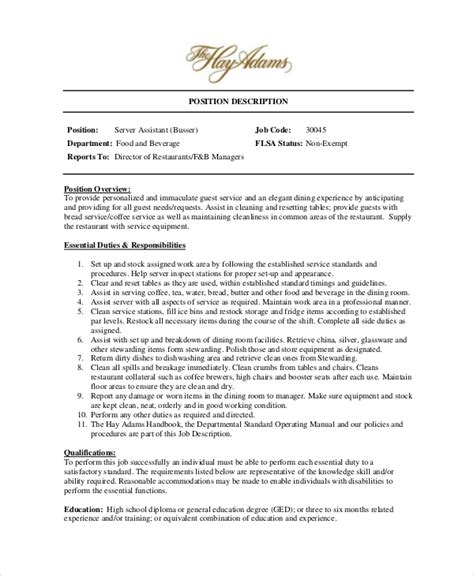 assistant waiter resume free professional resume