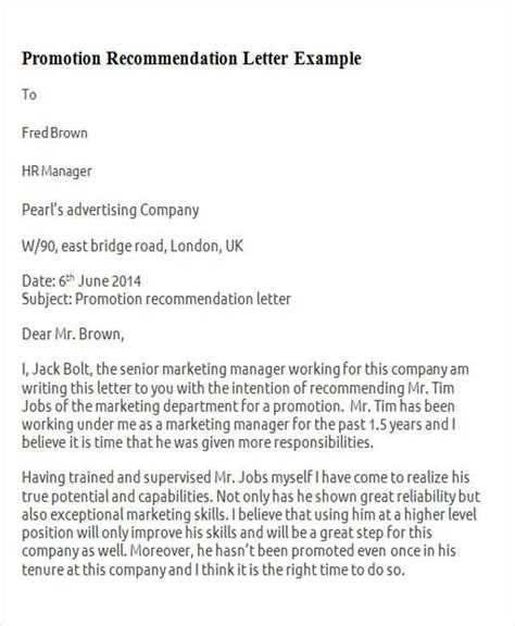 Recommendation Letter For A Promotion 7 Sle Promotion Recommendation Letter Free Sle