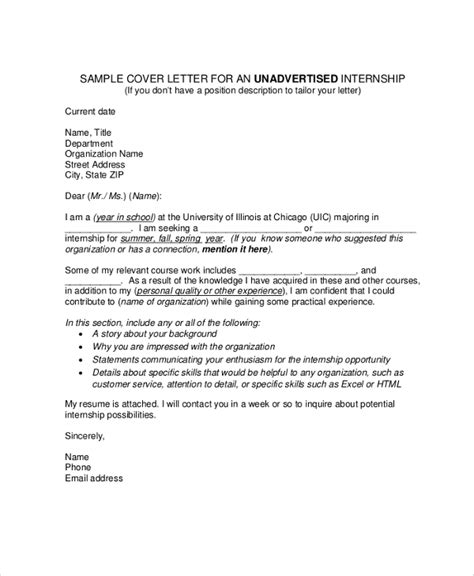 cover letter internship position sle cover letter for internship 9 exles in pdf word