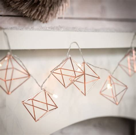 rose gold string lights copper geometric fairy lights by the best room
