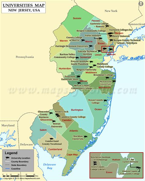new jersey on the map of usa list of universities in new jersey map of new jersey