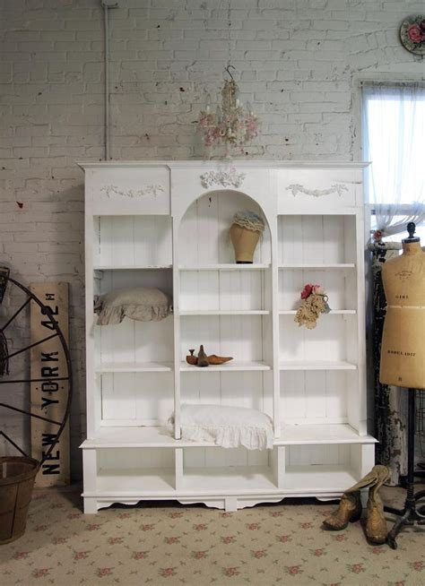shabby chic white bookcase painted cottage chic shabby white handmade bookcase display cabinet