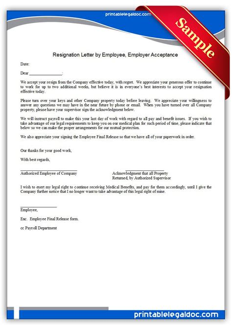 Thanks Letter For Acceptance Of Resignation Acceptance Of Resignation Letter From Employee Resume Layout 2017