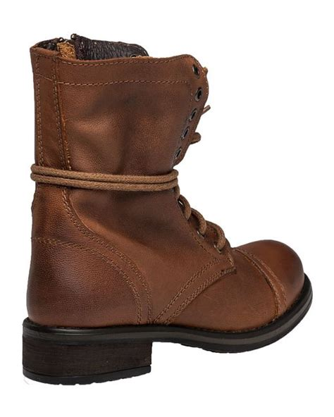 steve madden troopa 2 0 leather combat boots in brown lyst
