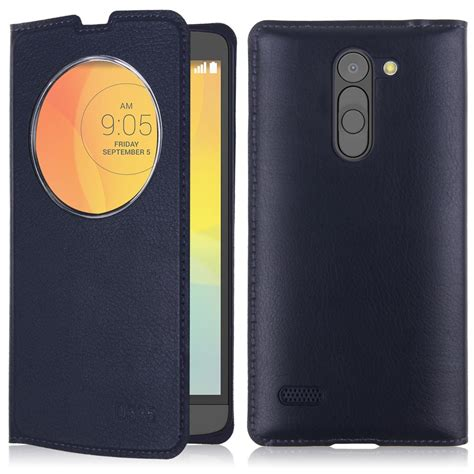 Lg Bello circle clear window flip leather cover for lg l