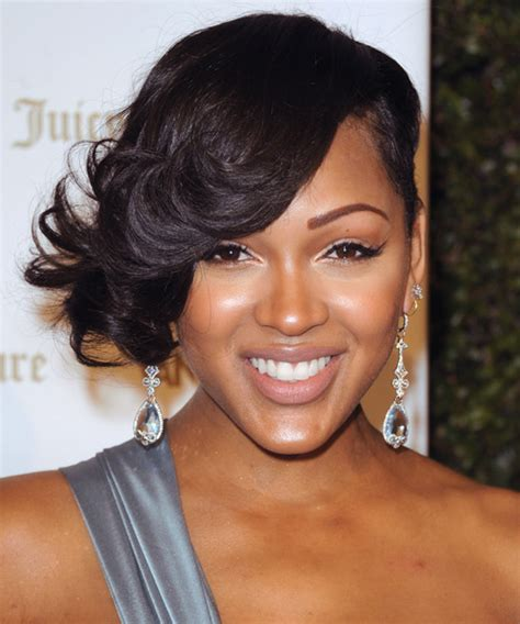 is short hair right for a person with a double chin meagan good short wavy formal hairstyle black