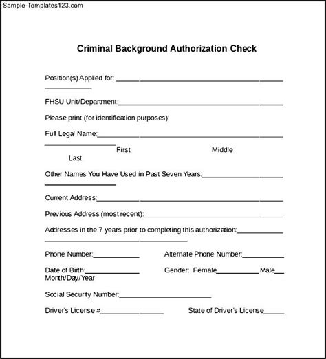 Checking If You A Criminal Record Criminal Background Authorization Check Sle Templates Sle Templates