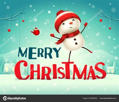 merry christmas cheerful snowman christmas snow scene winter landscape stock vector  ori