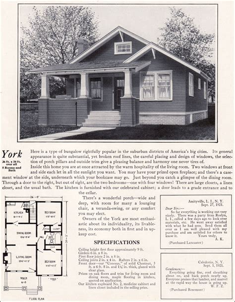 One Story Craftsman Bungalow House Plans 1920s modern bungalow 1922 york by bennett homes kit