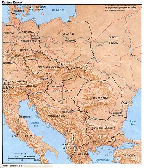 eastern euope map eastern europe physical map 1984 size