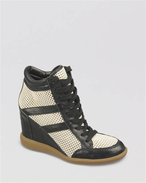 lyst sam edelman lace up wedge sneakers bolton in white