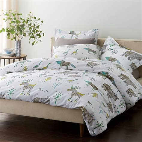 winter bed sheets winter forest flannel duvet cover and sham the company