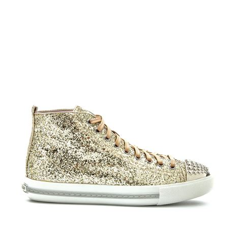 miu miu sparkle sneakers miu miu glitter hightop sneakers in metallic lyst