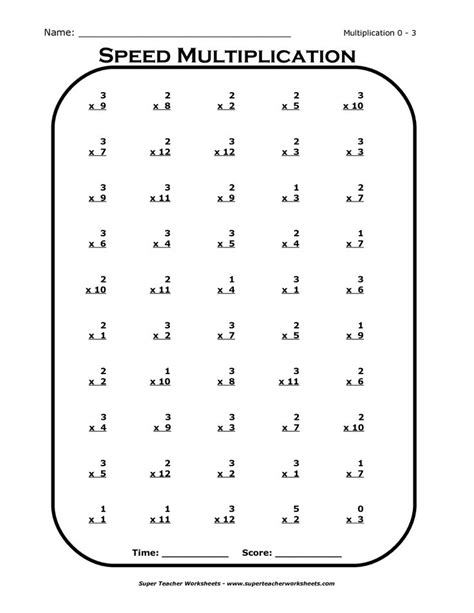 Times Tables Worksheets 3rd Grade Basic Multiplication
