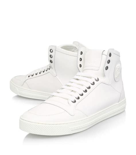 plain white high top sneakers lyst versace medusa plain high top sneakers in white for