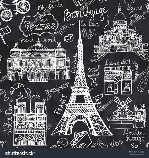 pattern french word paris landmarklettering seamless patternvintage hand drawn