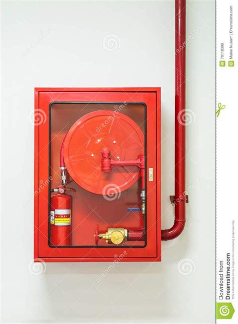 hose and extinguisher cabinet stock photo image