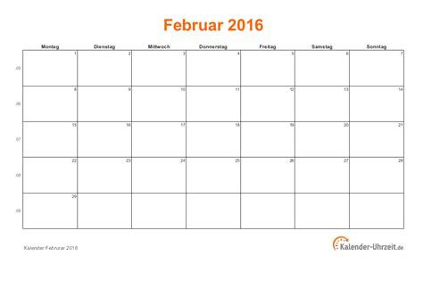 Kalender 2016 Februar Februar 2016 Kalender Mit Feiertagen