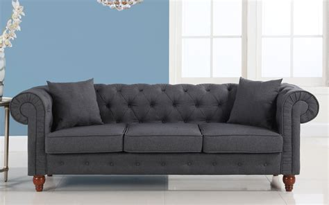 Stratford Classic Grey Fabric Chesterfield Sofa Fabric Chesterfield Style Sofa