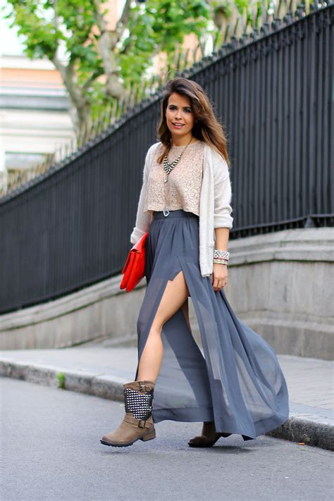 pair your winter boots with a semisheer maxi skirt and a