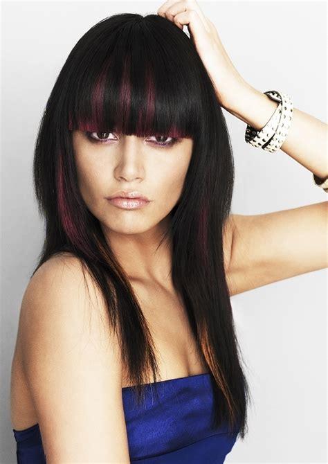 blunt fringe hairstyles glam blunt bangs long haircuts 2012
