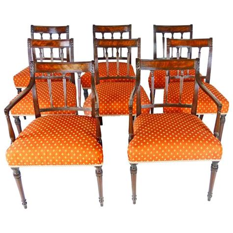 eight george iii period sheraton dining chair set for sale