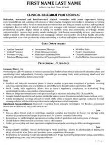 clinical researcher resume sle template