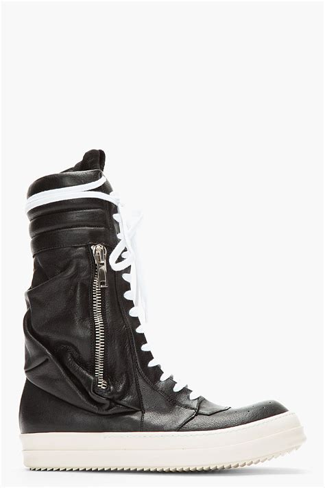 leather sneaker boots lyst rick owens black cargobasket leather sneaker