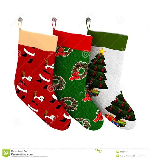 set of isolated colorful christmas gift socks stock