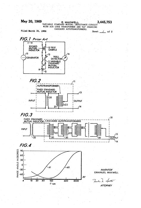 air inductance transformer patent us3445753 variable standard inductance circuit with air transformer and