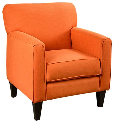 orange armchairs eli solid orange fabric track arm accent club chair