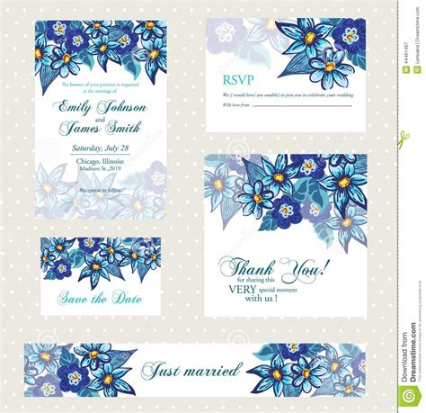 Bridal Shower Invitation Template by Wedding Invitation Set With Vintage Flowers Stock Vector