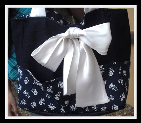 tote bag pattern with bow denim and flower tote bag with fluffy satin bow sewing
