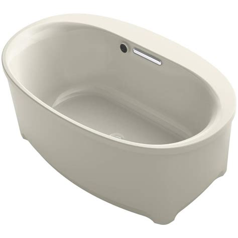 center drain bathtubs shop kohler underscore 60 in sandbar acrylic freestanding