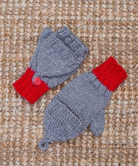 knit pattern heart mittens flip top kids mittens red heart
