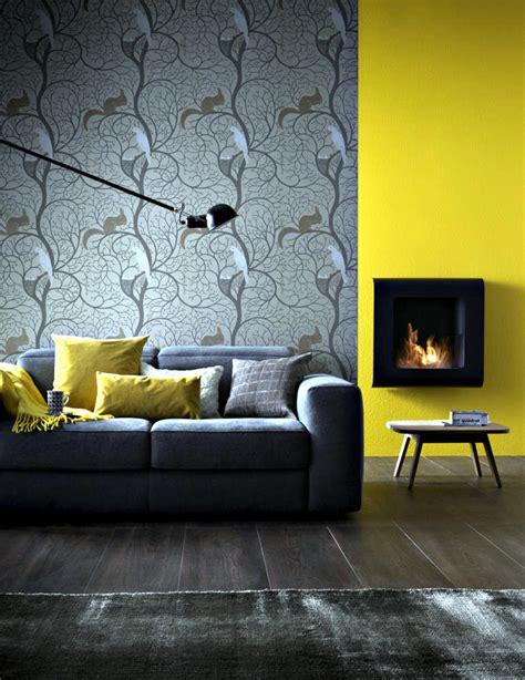 small fireplace wall  mustard yellow wall interior