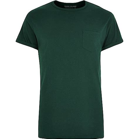 Blue Green Pocket Shirt Size S M L green chest pocket t shirt plain t shirts t