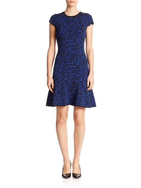 michael kors knit dress michael kors patterned knit fit flare dress in blue lyst