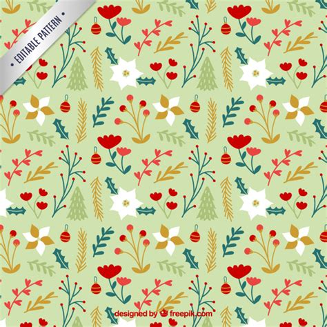 cute holiday pattern cute floral christmas pattern vector free download