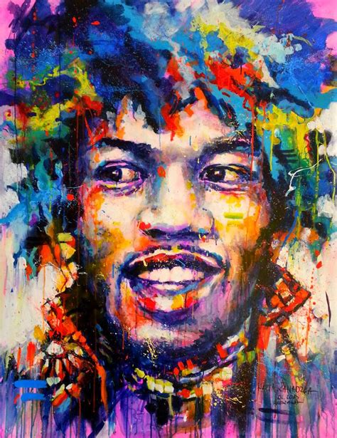 saatchi art jimi hendrix canvas painting by marta zawadzka