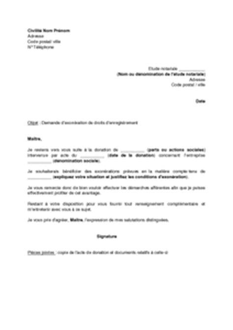 Lettre de demande d'exonération de droits d'enregistrement