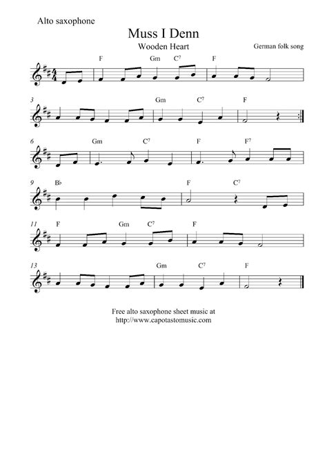 printable happy birthday sheet music alto sax free alto saxophone sheet music muss i denn wooden heart