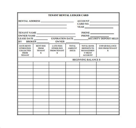 rent receipt ledger template 10 rental ledger templates pdf sle templates